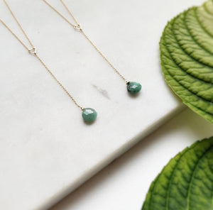 Two Emerald Drop Lariat Necklace