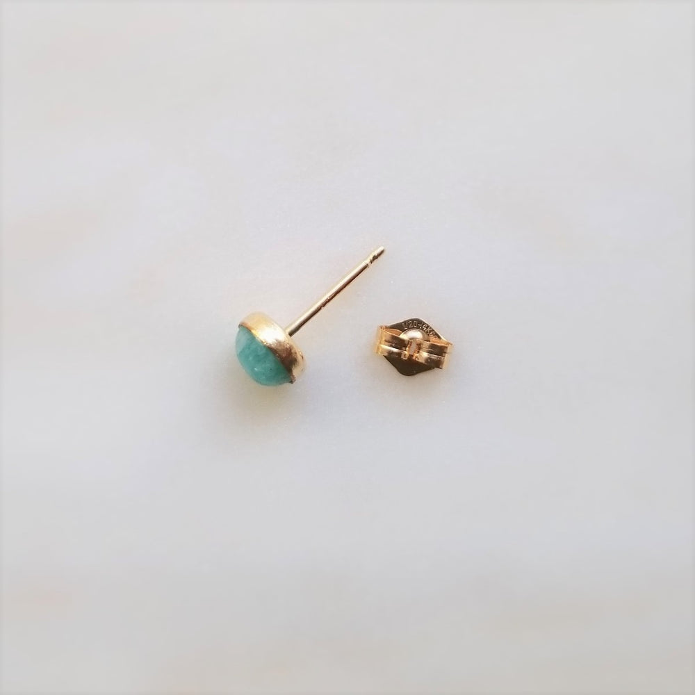 gold turquoise amazonite stud with gold earring backing