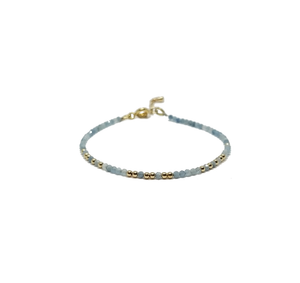Aquamarine and gold morse code beaded bracelet