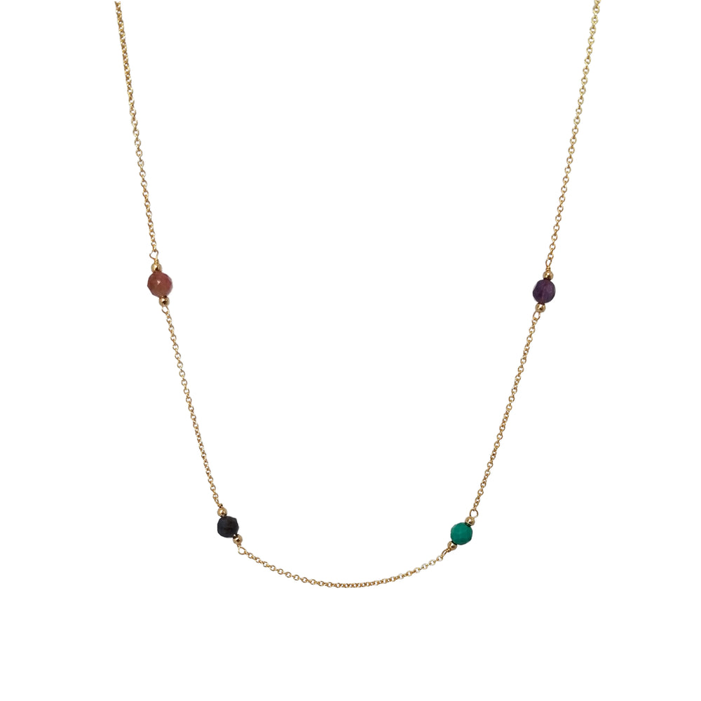 gold necklace with pink tourmaline, sapphire, turquoise and amethyst birthsones