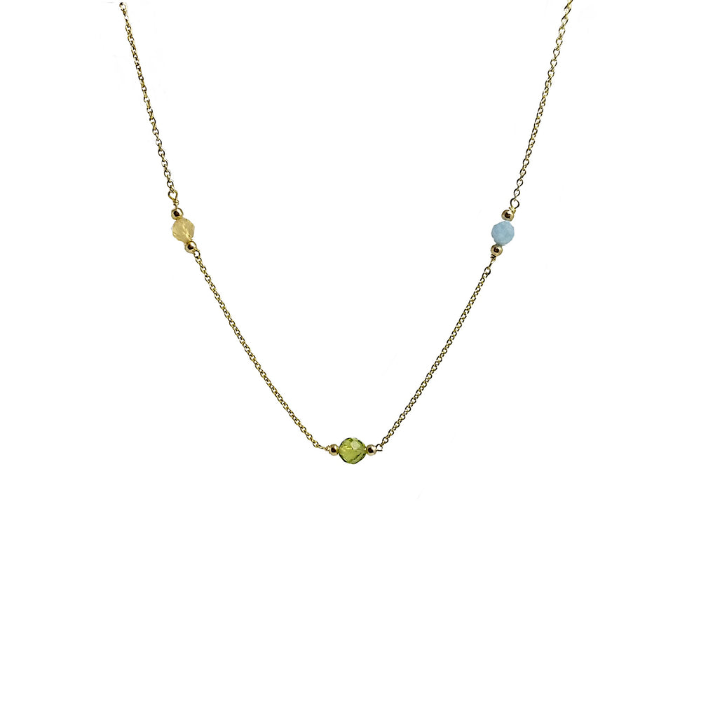 gold necklace with citrine, aquamarine, peridot birthstones