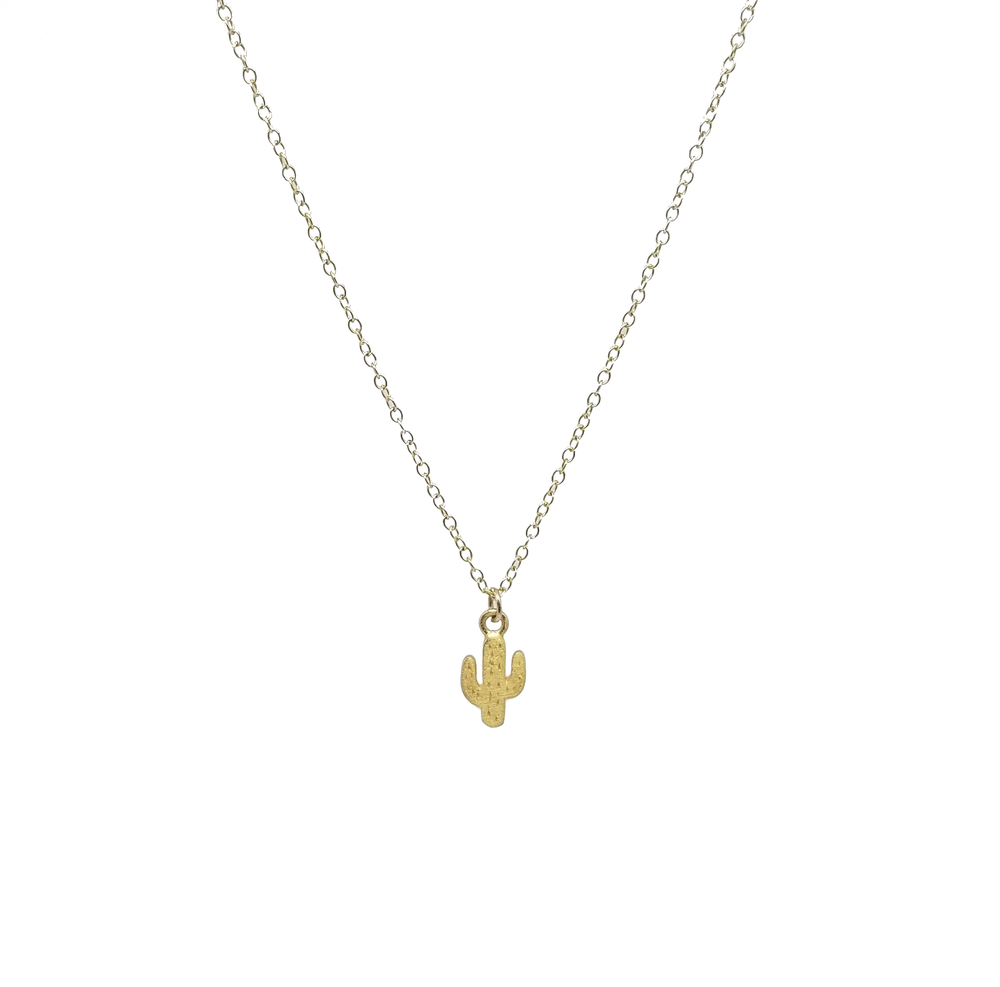 minimalist gold filled vermeil cactus necklace