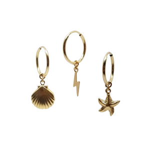 tiny gold filled hoop earrings with shell starfish and lightning bolt charms