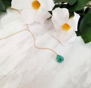 Emerald Drop Lariat Necklace