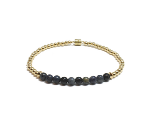 Bracelet with gold and blue jasper beads