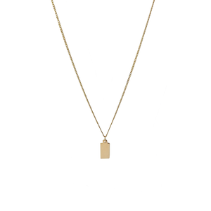 Gold tag initial necklace