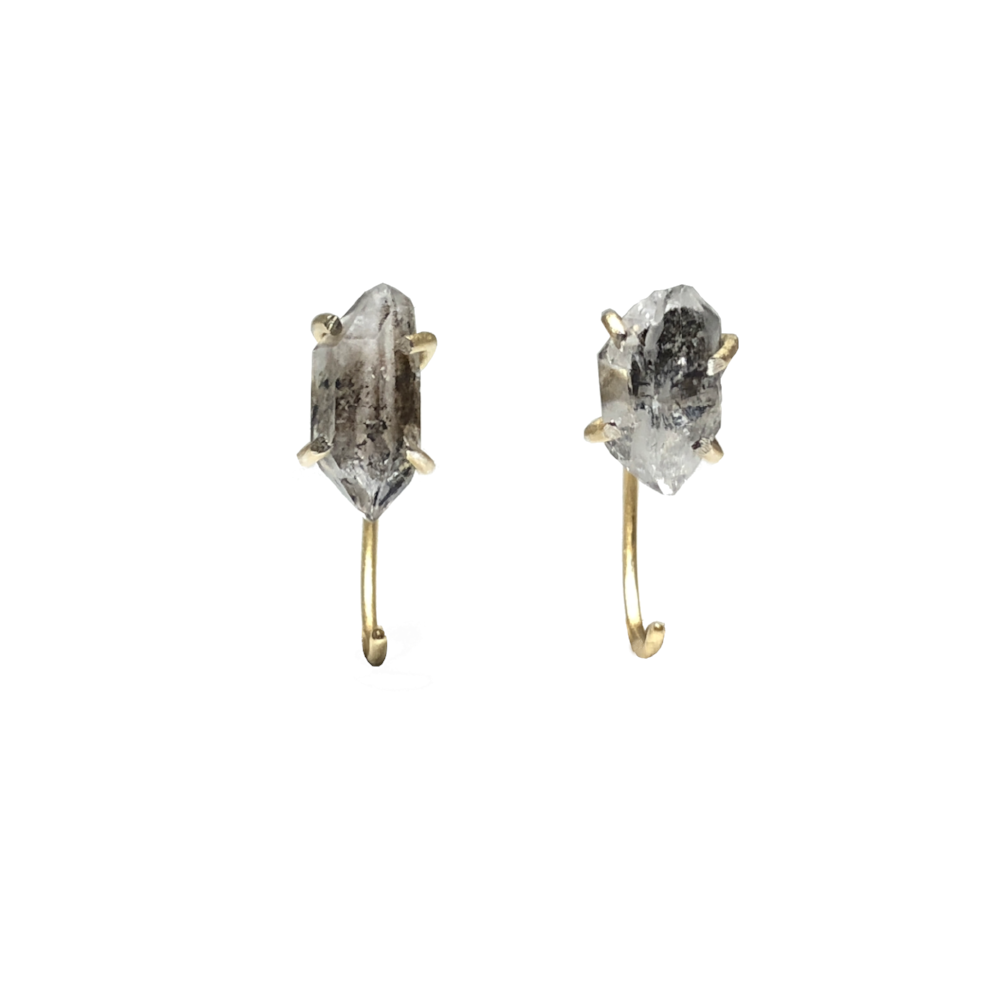 Herkimer Diamond Earrings Gold