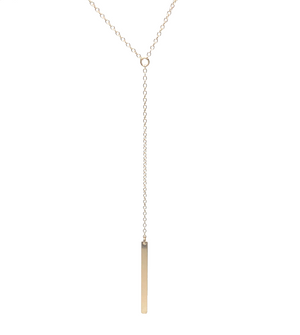 Long Gold Bar Y-Necklace
