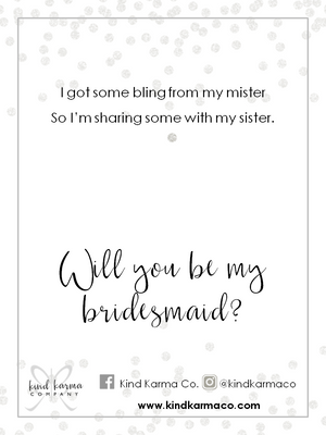 necklace bling bridesmaid card