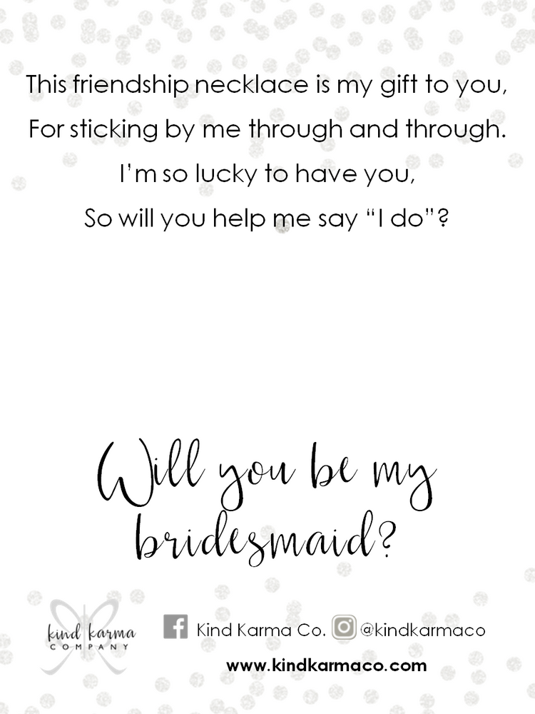 friendship necklace bridesmaid card