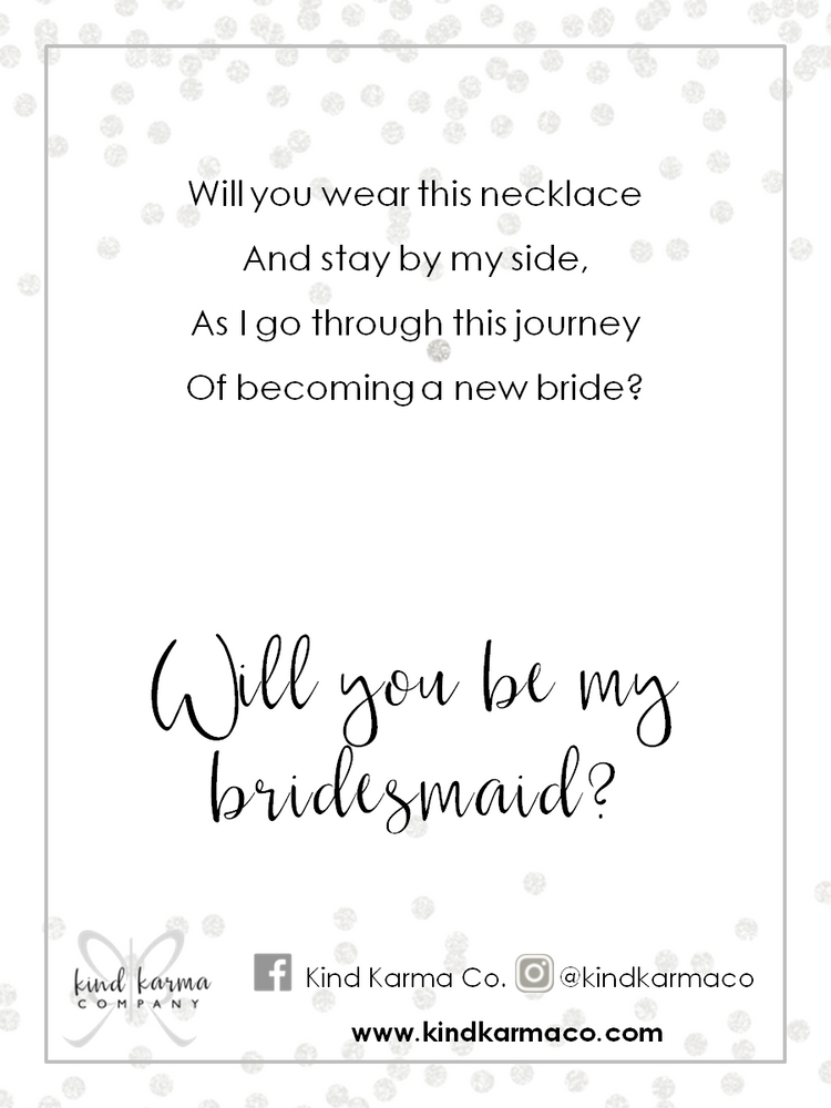 Bridesmaids Jewelry Cards