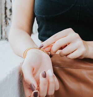 model wearing crystal zen bracelet