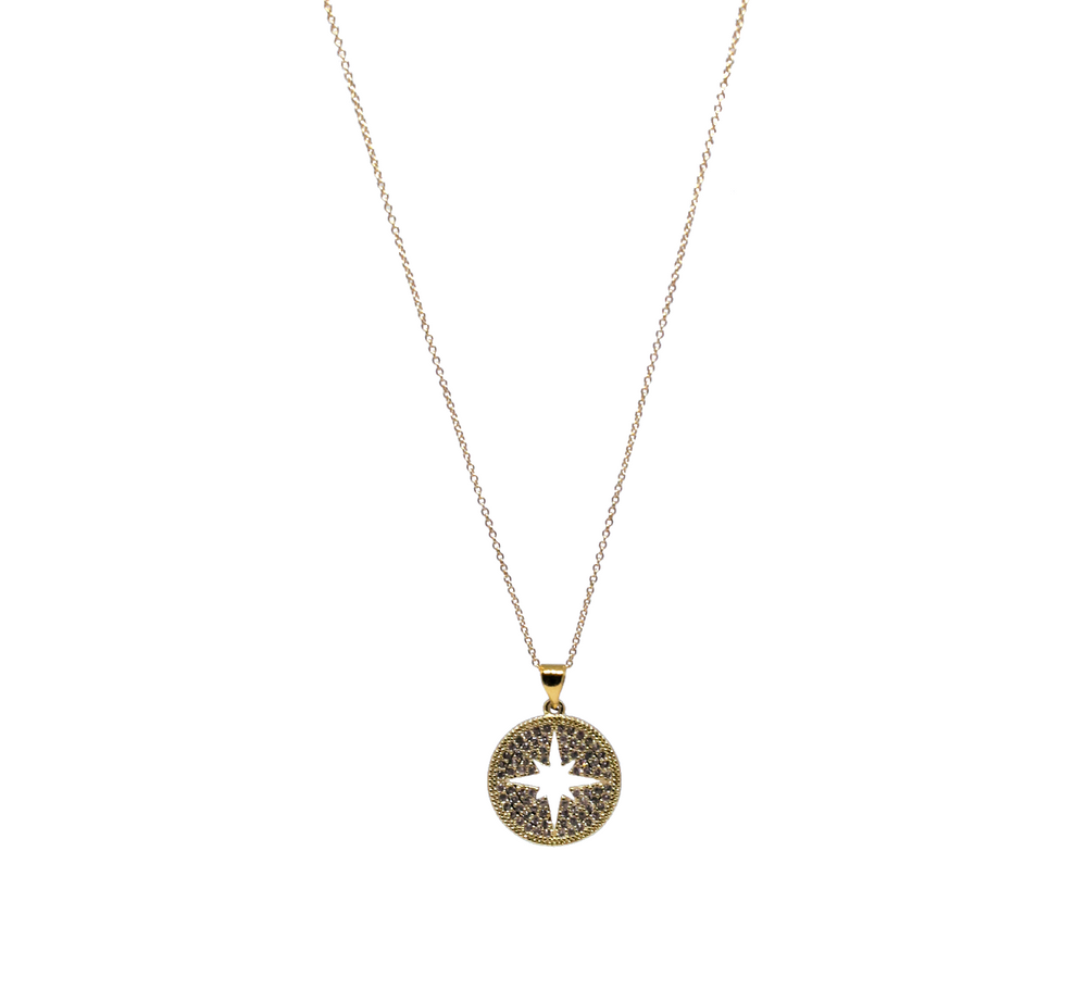 gold north star crystal necklace