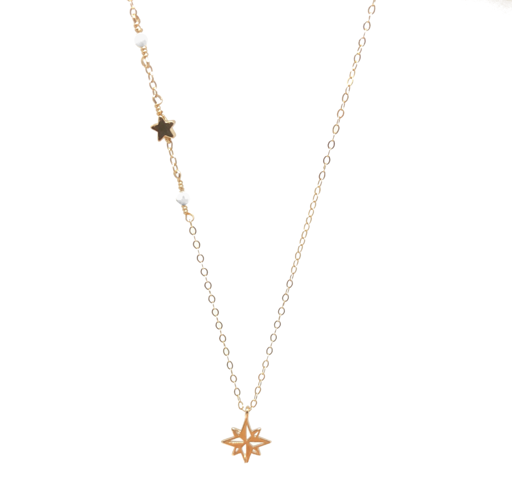gold necklace jewelry dogeared plated compass star customized pendant north petalbox