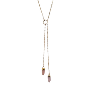 Gold Necklace with two pink opal pendants