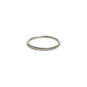 silver square beaded stacking ring