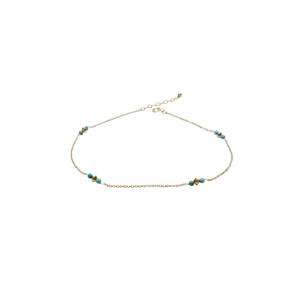 turquoise beaded gold anklet