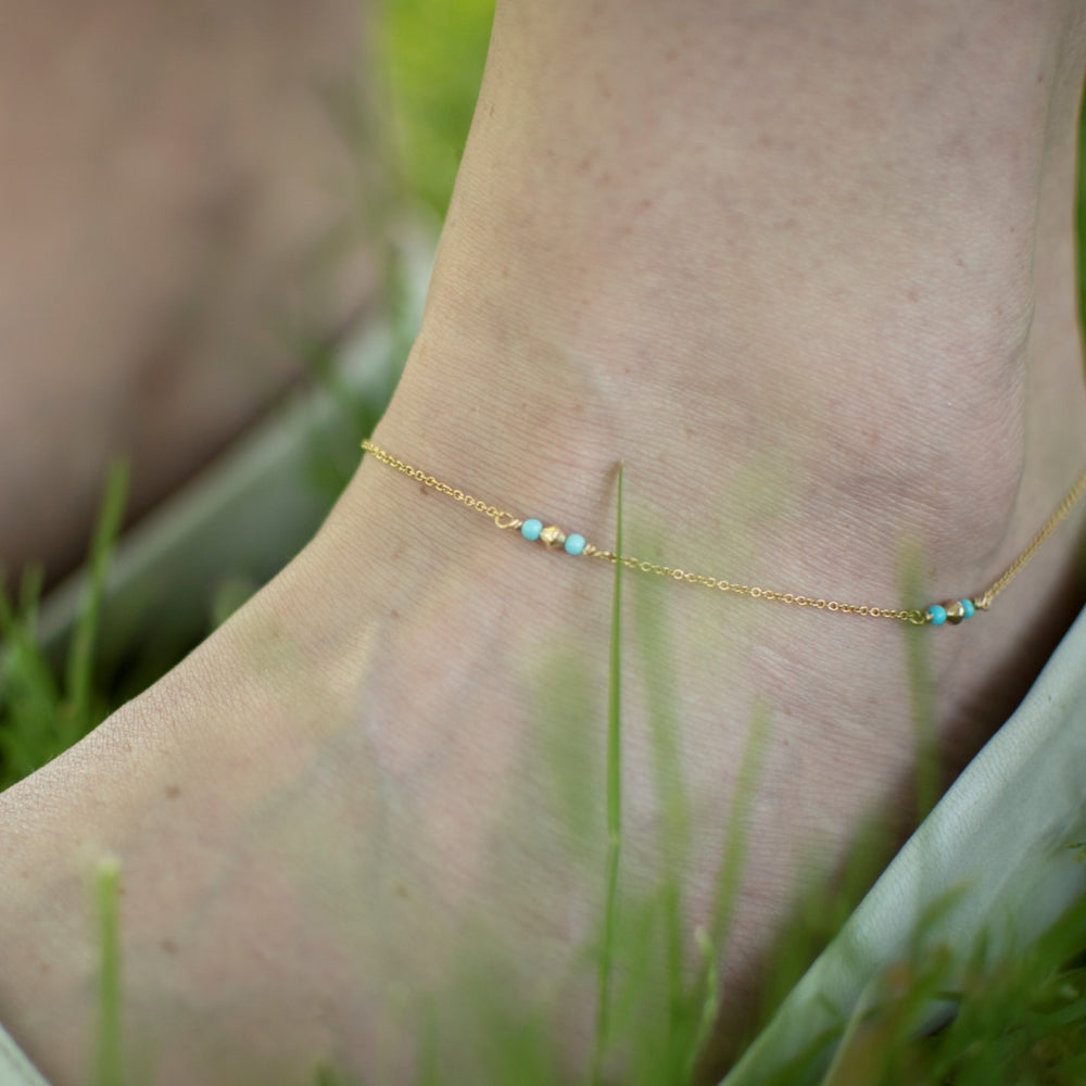 Turquoise Beaded Anklet