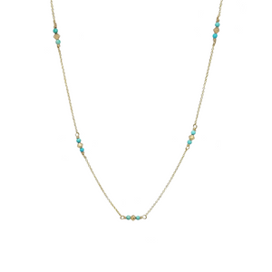 turquoise beaded gold necklace