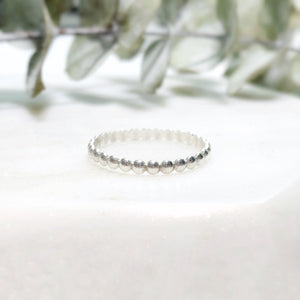 silver beaded stacking ring up close