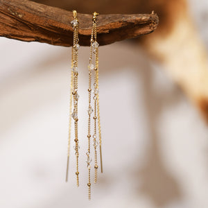 gold filled swarovski crystal threader earrings