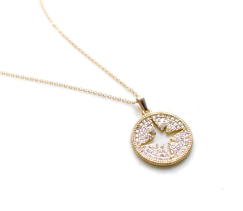 Micro Pave North Star Crystal Pendant Necklace