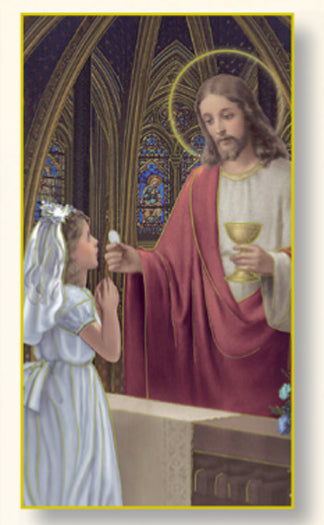 First Communion Girl Holy Card