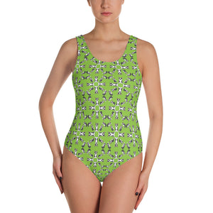"""Having Fun"" Patterned One-Piece Swimsuit - Light Pea Green"