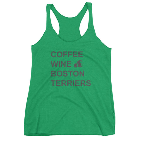 Coffee Wine & Boston Terriers  (Grey) - Women's Racerback Tank