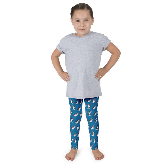 Boston Terrier Kid's Leggings - Blue