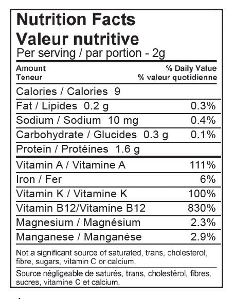 Freeze Dried Spirulina, nutrition facts