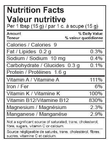 Fresh Spirulina, Nutrition Facts