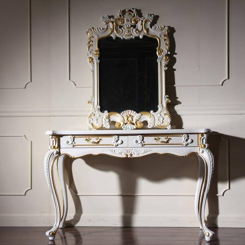 Make Up Wood Dresser White Table With Stool Mirror And Vanity