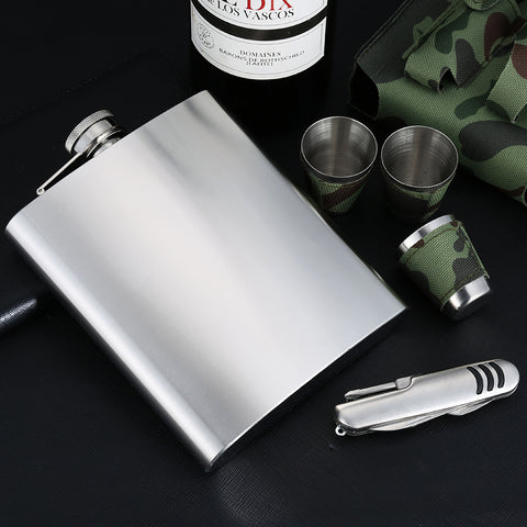 Set Hip Flask Camouflage w/ 1 Folding Knife & 3 Cups Flasks