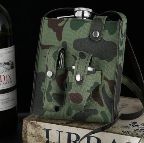 Image of Set Hip Flask Camouflage w/ 1 Folding Knife & 3 Cups Flasks