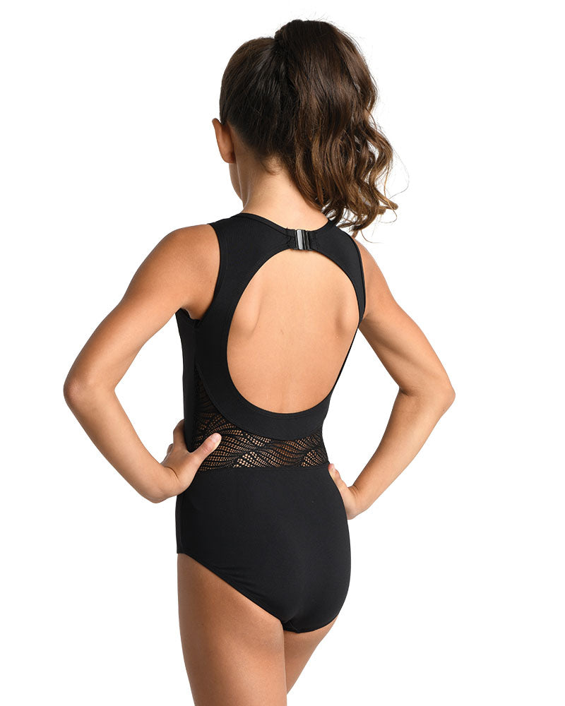 Kids open back lace leotard