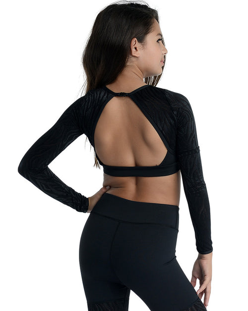 Zebra Mesh Long Sleeve Crop - Girls