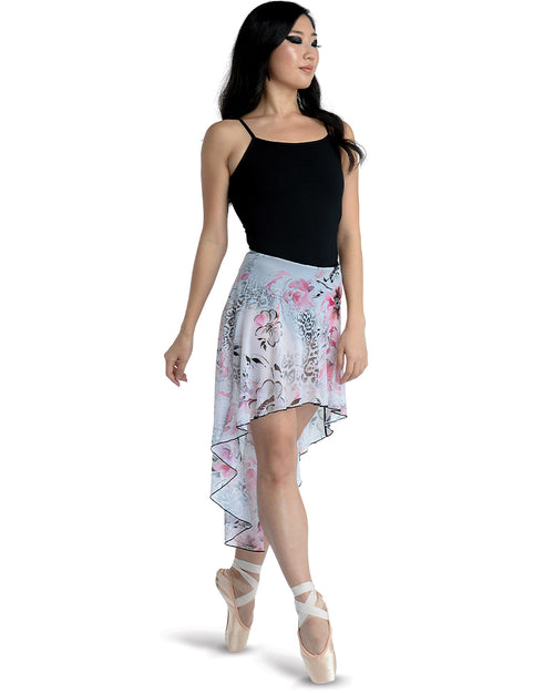 Long High-Low Floral Print Skirt