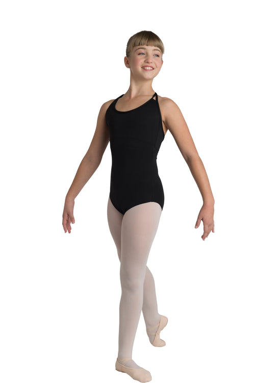 black strap back leotard for kids