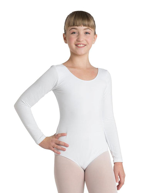 White Long Sleeve Dance Leotard