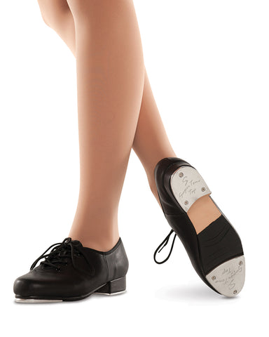 Black leather tap shoe for kids