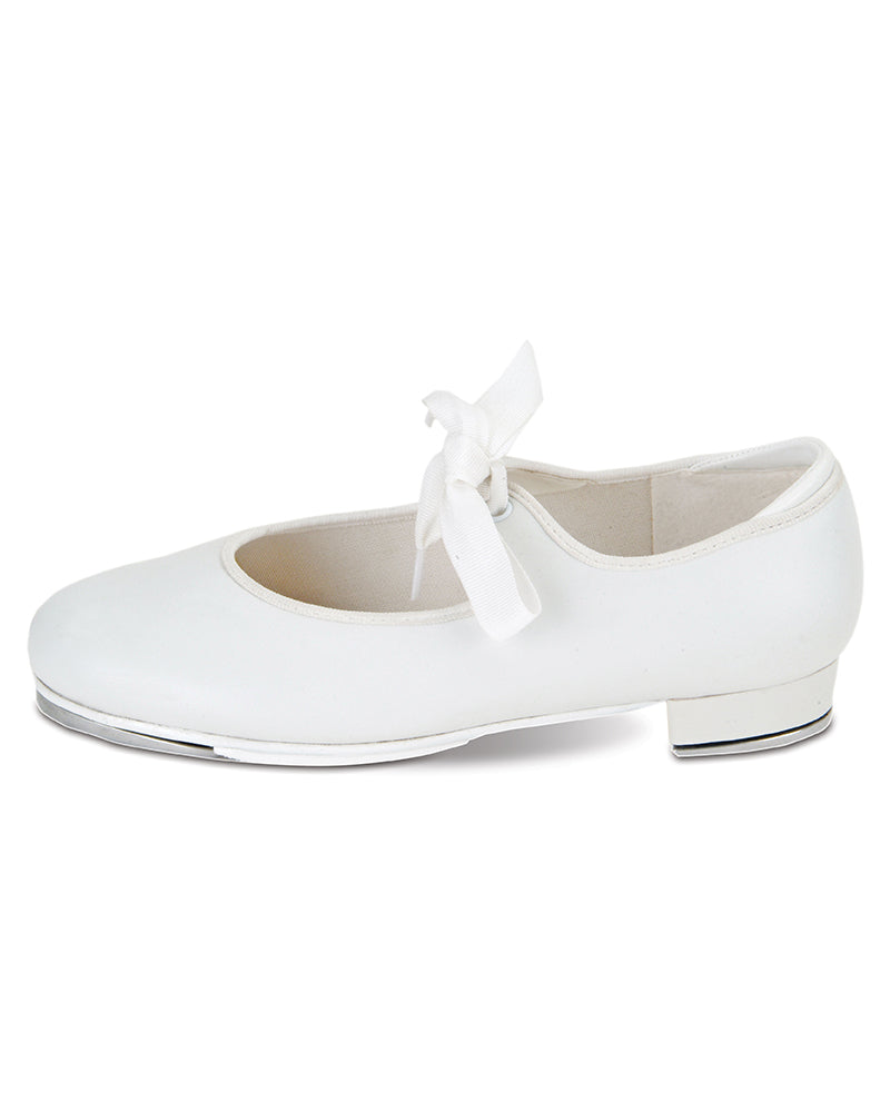 White Leather Ribbon Tie Tap Shoe