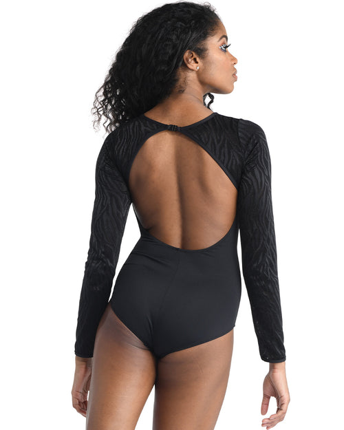 Zebra Mesh Long Sleeve Leotard