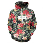 Hoodie With Cap Red Flowers Green Leaves