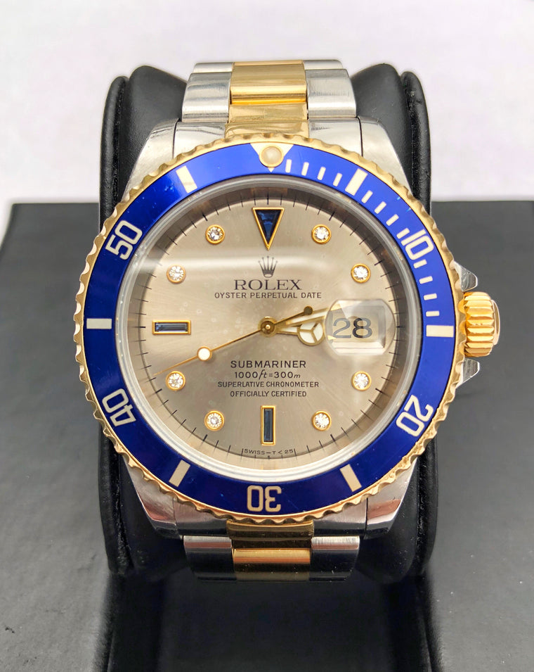 Rolex Submariner 16613 Two Tone 18K Gold & Steel Slate Serti 1997