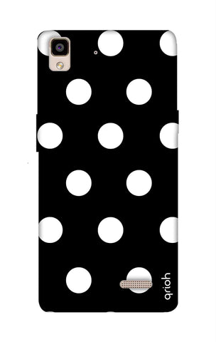 White Polka On Black Oppo R7 Cases & Covers Online
