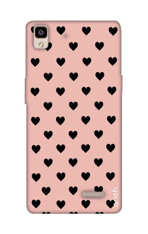 Black Hearts On Pink Oppo R7 Cases & Covers Online