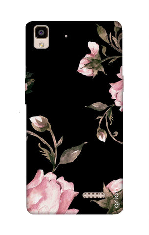 Pink Roses On Black Oppo R7 Cases & Covers Online