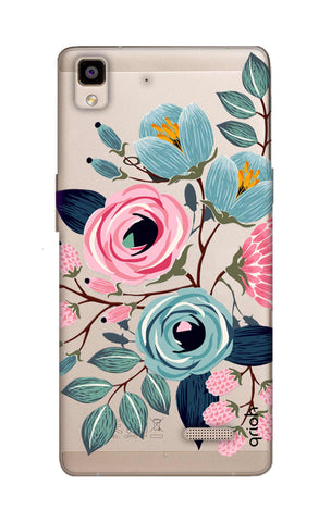 Pink And Blue Floral Oppo R7 Cases & Covers Online