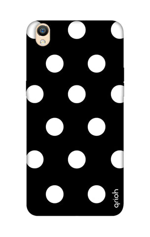 White Polka On Black Oppo R9 Cases & Covers Online
